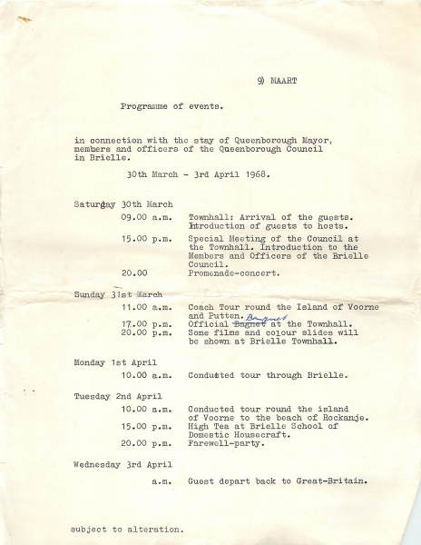 Program of events Queenborough Twinning in Brielle 1968